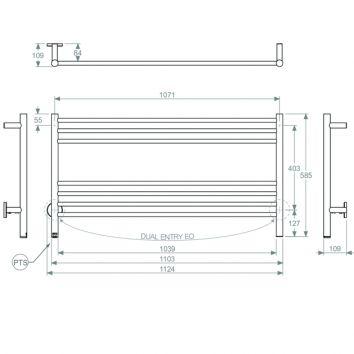 BATHROOM BUTLER HTR Natural 7 Bar 1100mm Technical Drawing