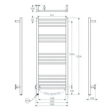 BATHROOM BUTLER HTR Natural 15 Bar 500mm Technical Drawing