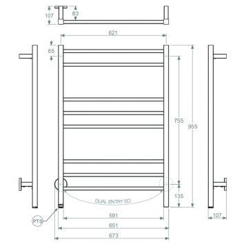 Bathroom Butler HTR Cubic 8 Bar 650mm Technical Drawing