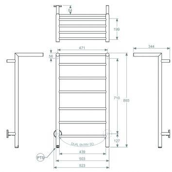 BATHROOM BUTLER HTR Edge 10 Bar 500mm Technical Drawing