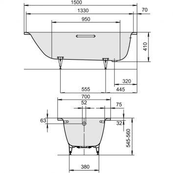 kaldewei saniform plus 1500 x 700 x 410 bathe. Black Bedroom Furniture Sets. Home Design Ideas