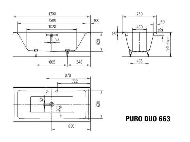 Bevorzugt KALDEWEI Puro Duo 1700x750x420 - Bathe CQ83