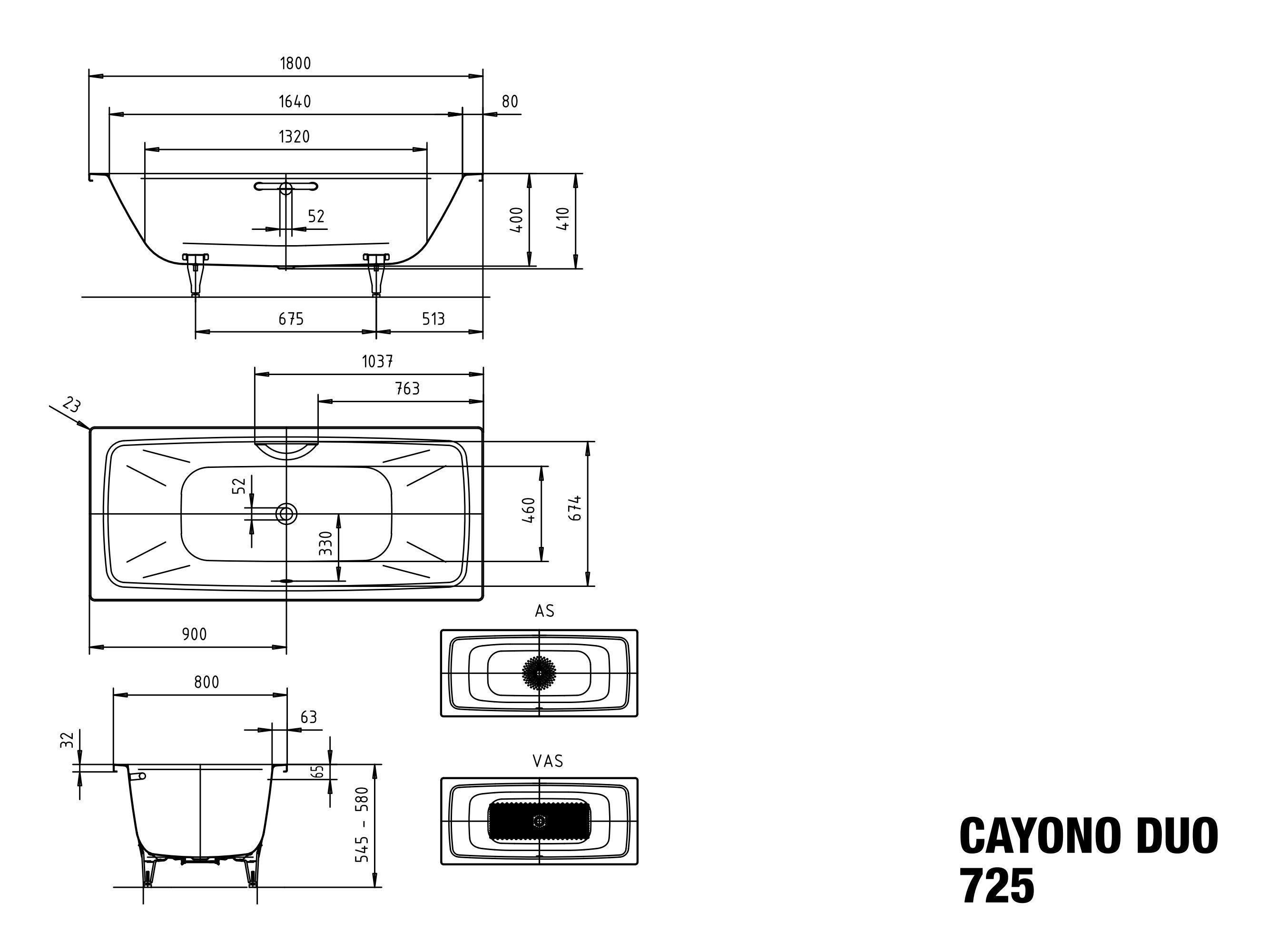Kaldewei Cayono Duo 1800 X 800 X 400 Bathe